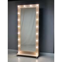 Гримерное зеркало с подсветкой на роликах 180х80 Светлый дуб