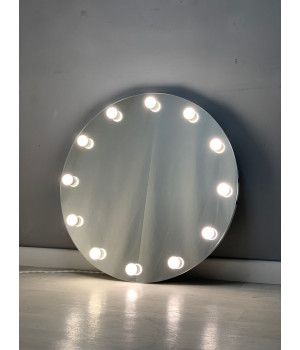 Круглое гримерное зеркало с подсветкой лампочками 80х80
