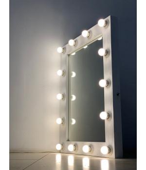 Гримерное зеркало настенное/настольное 90x70 белого цвета с фактурой дерева 14 ламп