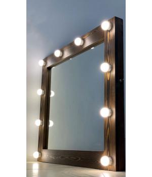 Зеркало театральное с подсветкой 90х80 цвета кофе