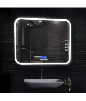 Зеркало в ванную комнату с подсветкой, часами и музыкой Демур